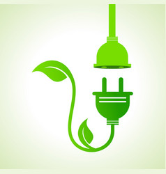Ecology icon with green leavesplug and holder vector