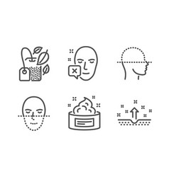Face declined face scanning and mint bag icons vector