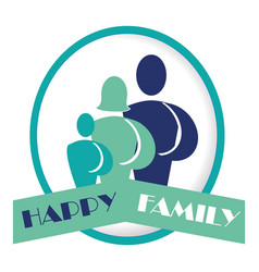 family members with ribbon silhouette characters vector image