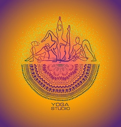 Female silhouettes doing yoga poses and mandala vector