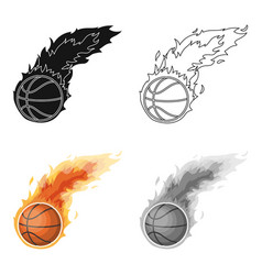 Fireballbasketball single icon in cartoon style vector