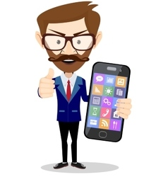 Flat cartoon hipster character - businessman with vector image