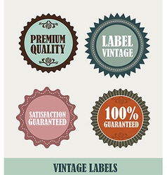 four vintage labels isolated over beige background vector image