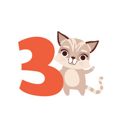 funny cute raccoon animal and number three vector image