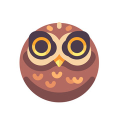 funny scary brown owl face flat icon vector image
