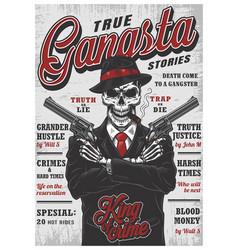 Gangsta skeleton magazine vector