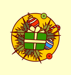 Gif box decoration icon merry christmas and happy vector