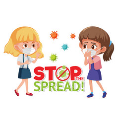 girls wearing with stop spreading virus sign vector image