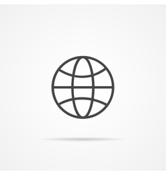 Globe earth flat icon on the grey vector