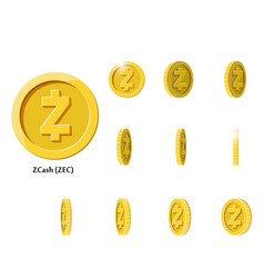 gold rotate zcash coin frames vector image