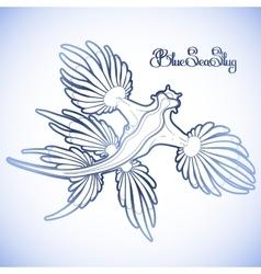 Graphic blue sea slug vector
