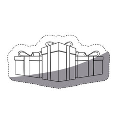 Grayscale contour sticker with set of gift boxes vector