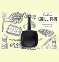grill pan brand ads poster banner template vector image