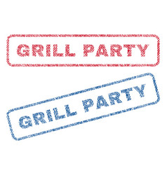 Grill party textile stamps vector