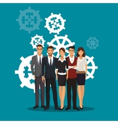 Group people teamwork gears collaboration vector