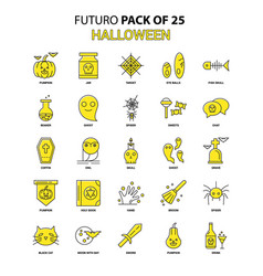 Halloween icon set yellow futuro latest design vector