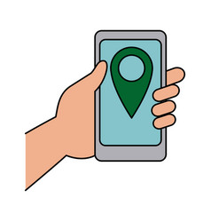 hand holding smartphone with pin map app vector image