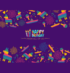 Happy birthday mexican party card design vector