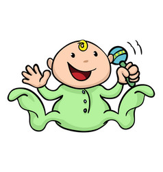 Happy cute baby playing with rattle vector