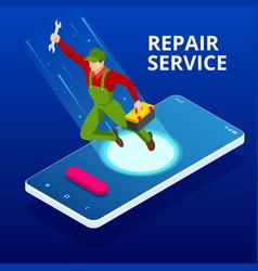 Isometric home repair and renewal service call vector