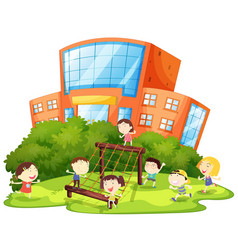 Kids playing at playground vector