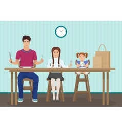 kids waiting for dinner in kitchen holding a vector image