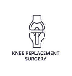 Knee replacement surgery thin line icon sig vector