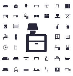Lamp on nightstand icon vector