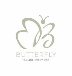 Letter b butterfly logo design vector