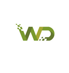 letter wd logo digital technology style vector image