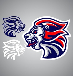 Lion head blue red logo vector