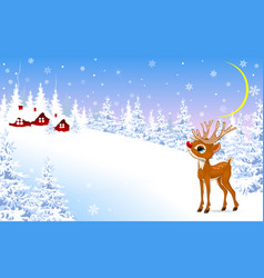 Little fawn on a winter background vector