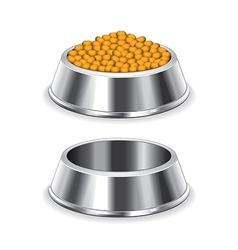 Metal dog bowl isolated vector