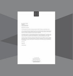 minimal black and white letterhead vector image