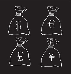 Money bags with currency symbols doodle style vector