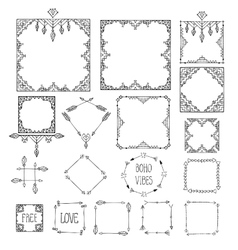 Monochrome boho tribal set of frames isolated in vector image