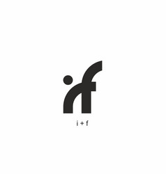 monogram black and white i and f initial letter vector image