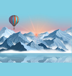 mountain with air balloon in realistic 3d style vector image