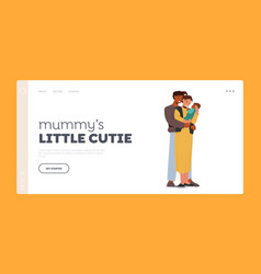 Multiracial loving parents with baby landing page vector