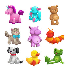 My first friends funny textile stuffed toys set vector