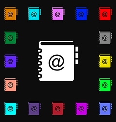Notebook address phone book icon sign Lots of vector