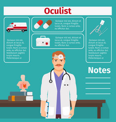 Oculist and medical equipment icons vector