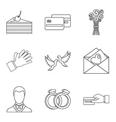 open arms welcome icons set outline style vector image
