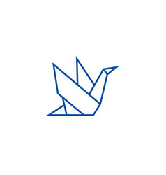 Origami line icon concept origami flat vector