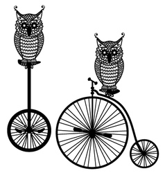 owls with old bicycle vector image