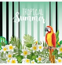 Parrot Bird Background Retro Pattern Tropical vector