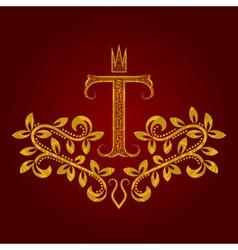Patterned golden letter T monogram in vintage vector