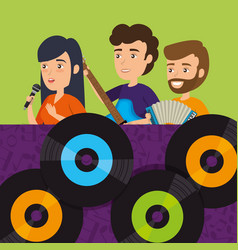 people playing instruments with vinyl disks vector image