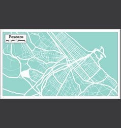 Pescara italy city map in retro style outline map vector