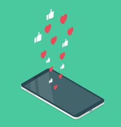 Phone heart vector